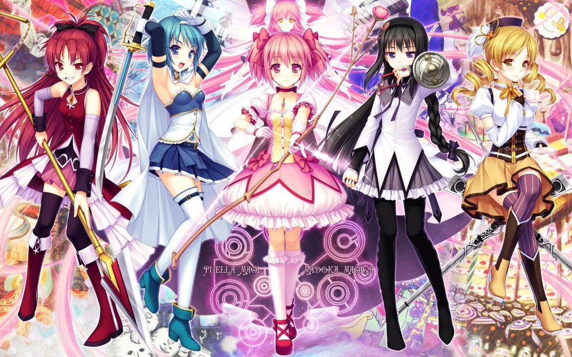 Mahou shoujo madoka magica miki sayaka sakura kyouko tomoe mami kaname madoka anime spears akemi homura anime girls hair band swords bow (weapon) wallpaper