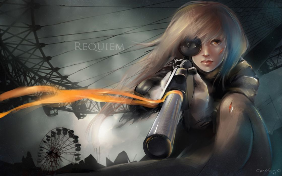 Blondes guns sniper weapons requiem for the phantom drawings madness anime girls sheer clothing sniper elite wallpaper