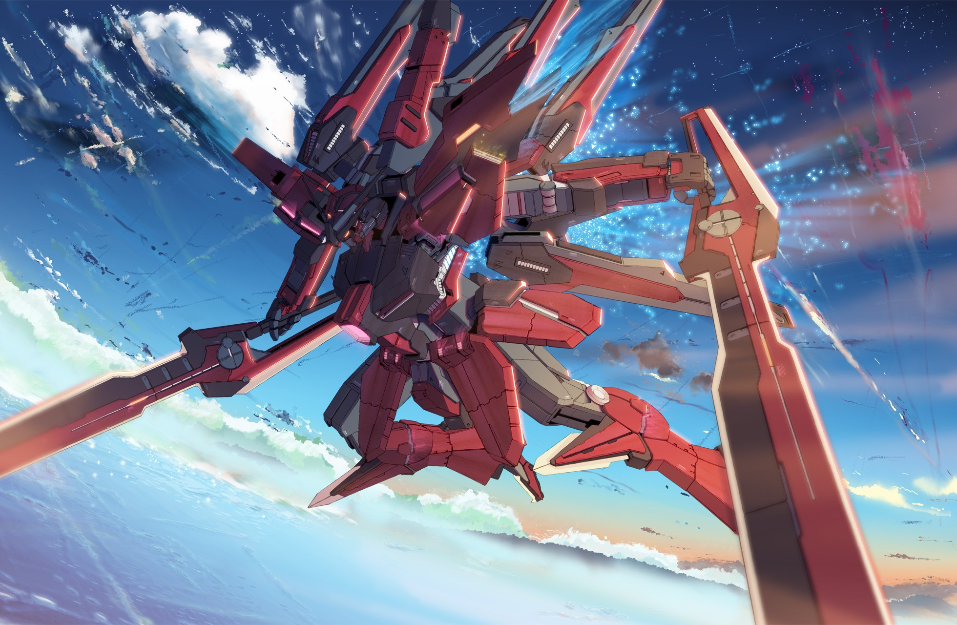Mecha gundam wing anime skyscapes wallpaper   1960x1280