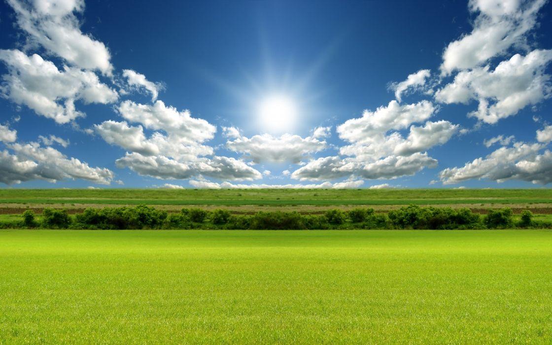 Clouds nature sun fields wallpaper