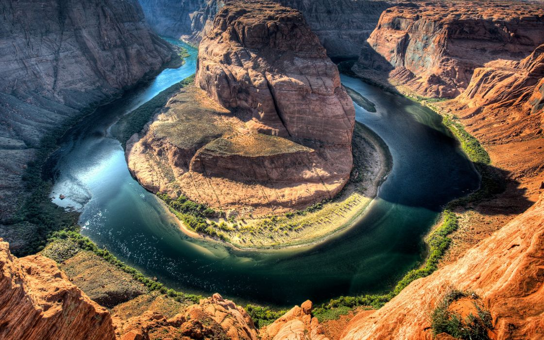 Water nature canyon cliffs horseshoe bend rivers wallpaper