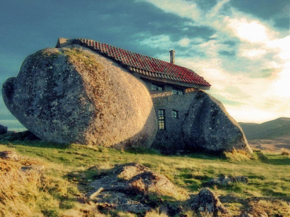 Rock houses stones wallpaper