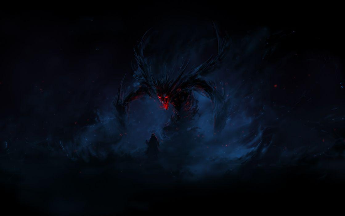 Black dark creatures demon wallpaper