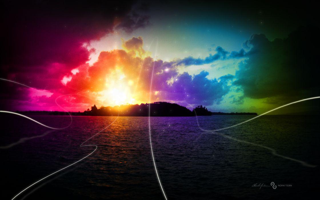 Water rainbows wallpaper