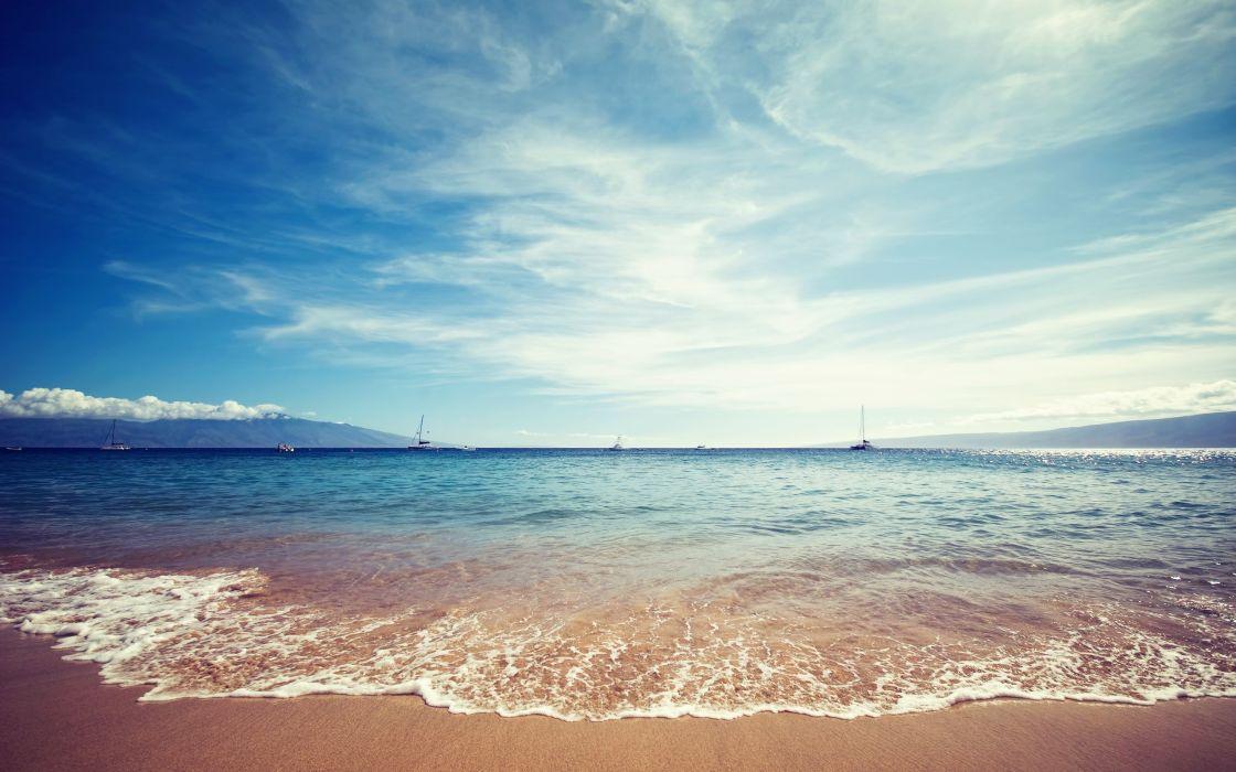 Ocean beach boats seascapes wallpaper