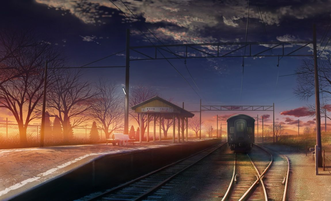 Clouds landscapes station trains makoto shinkai train stations scenic 5 centimeters per second drawings anime wallpaper