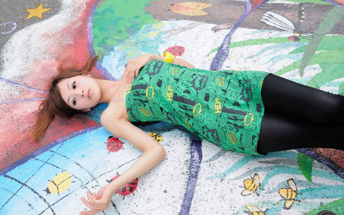Women dress people leggings asians lying down wallpaper
