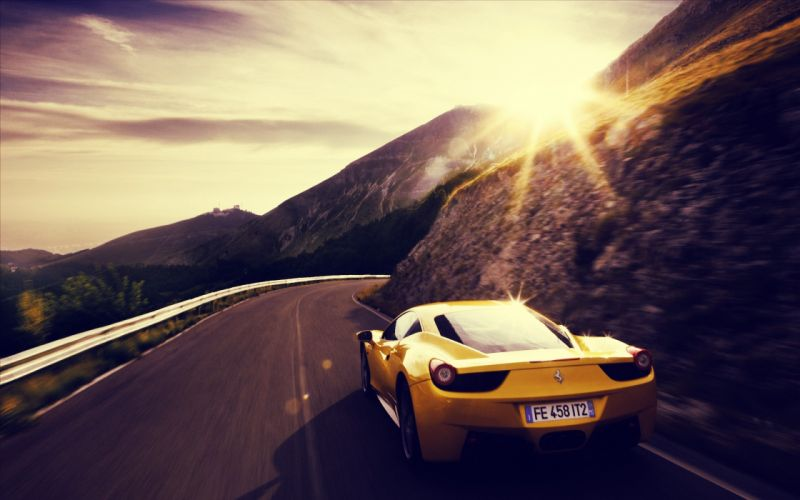 Sunset cars ferrari roads vehicles supercars ferrari 458 italia wallpaper