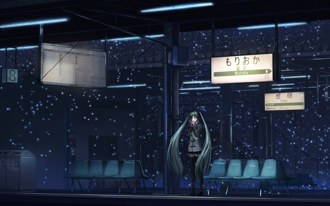 Vocaloid hatsune miku train stations wallpaper