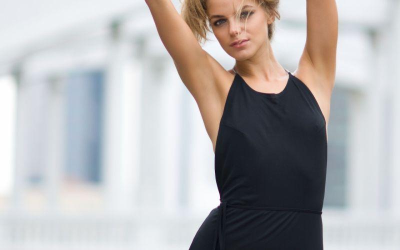 Blondes women models black dress nipples through clothing wallpaper