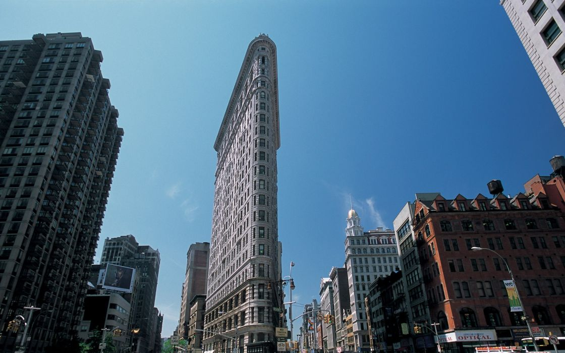 Cityscapes architecture buildings new york city flatiron blue skies wallpaper