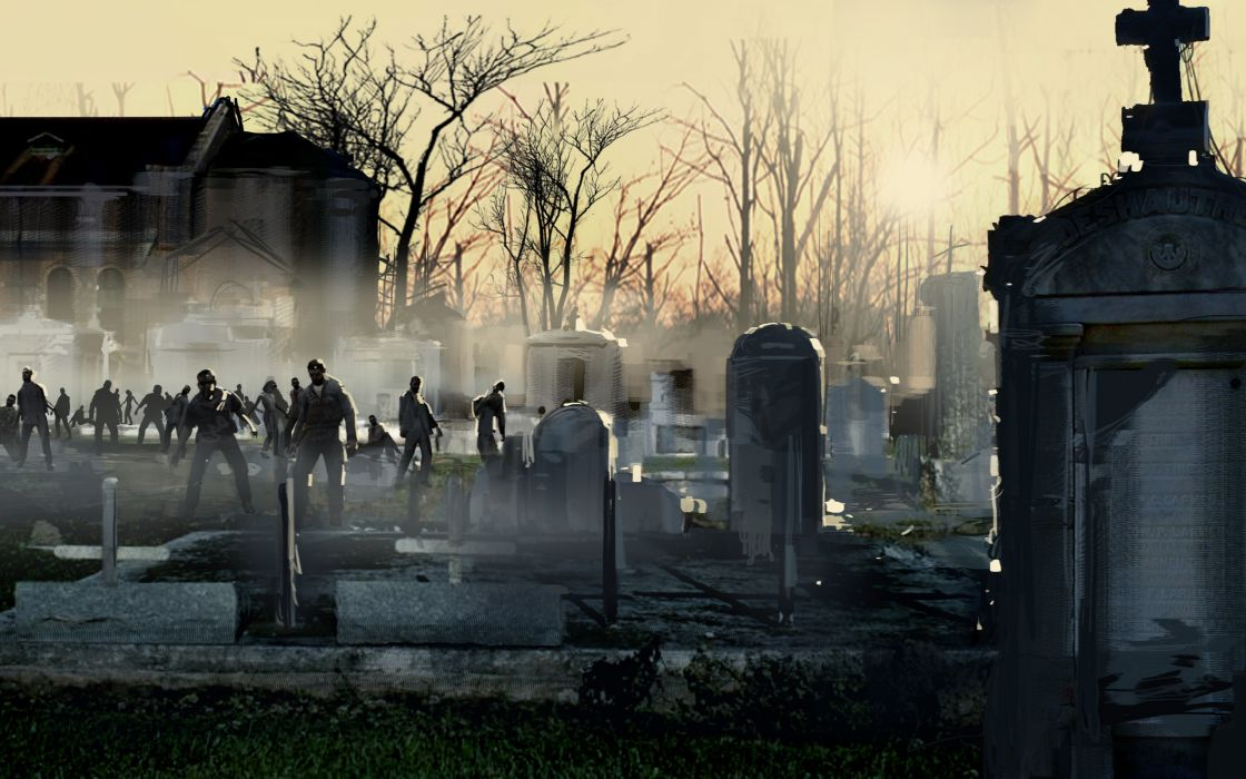 Zombies graveyard wallpaper