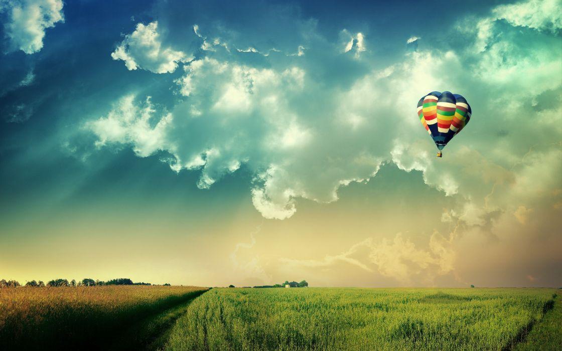Clouds nature world fields fly hot air balloons wallpaper