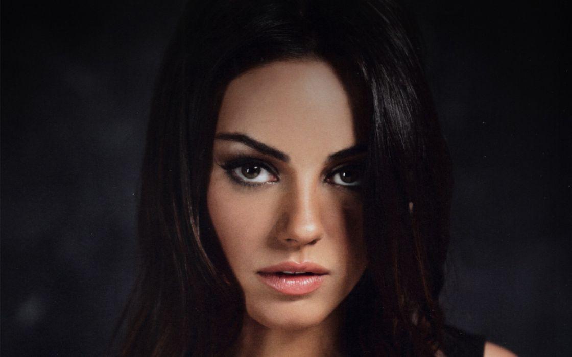 Brunettes women close-up mila kunis actress faces wallpaper