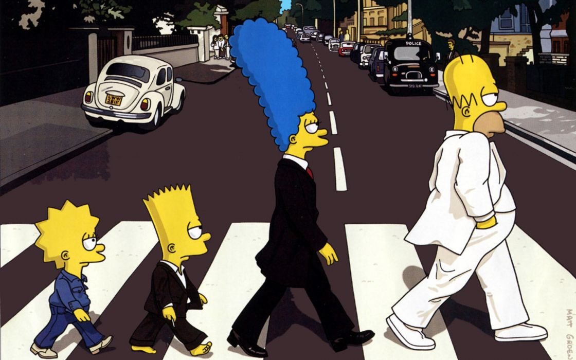 Abbey road the simpsons the beatles wallpaper
