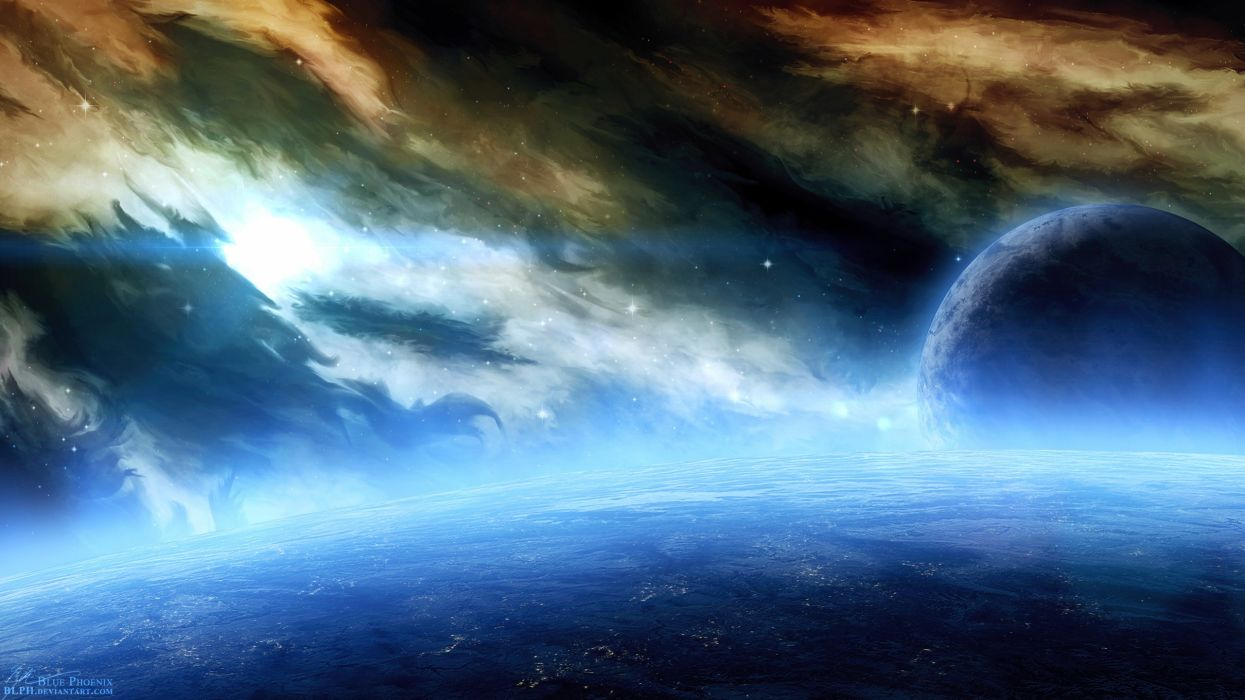 Outer space planets nebulae digital art wallpaper