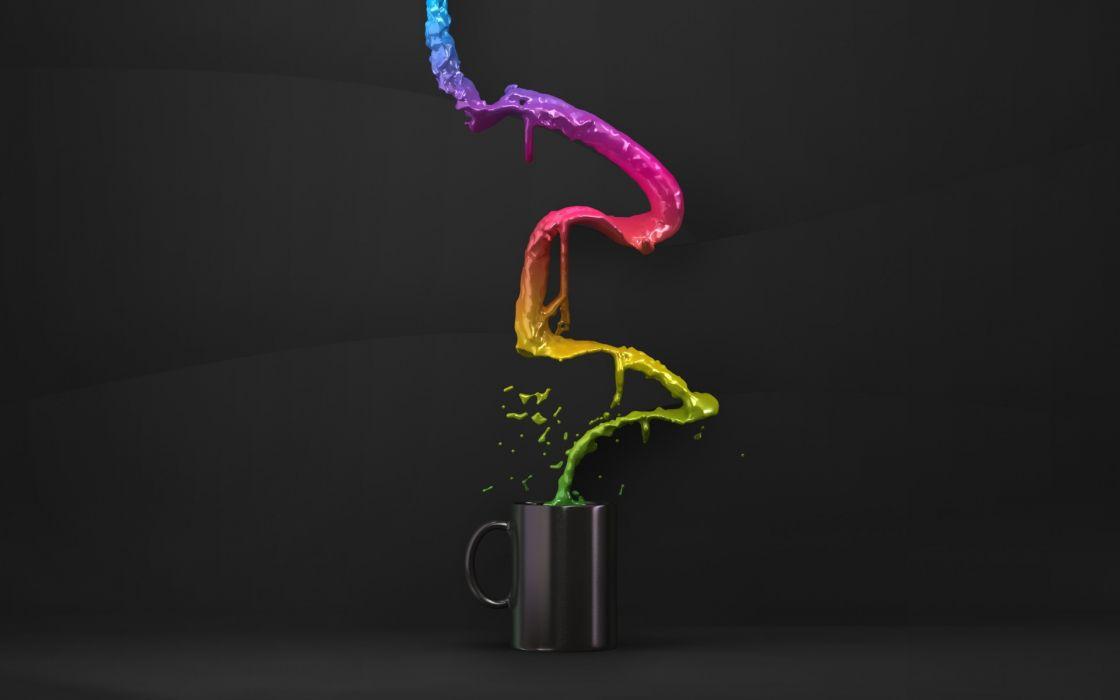 Cups rainbows flow wallpaper