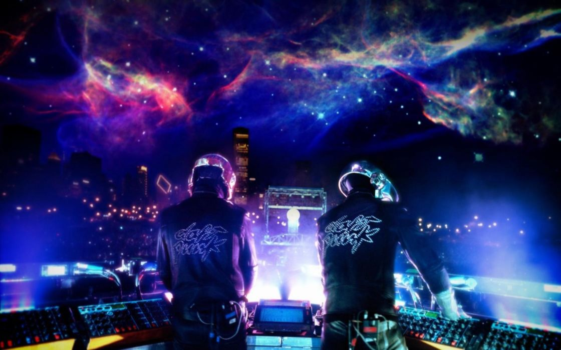 Outer space music cityscapes multicolor daft punk wallpaper