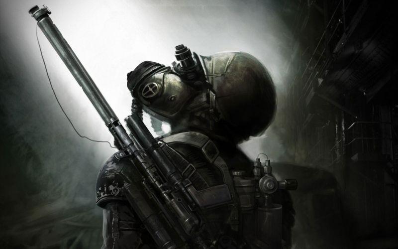 Video games post-apocalyptic futuristic weapons artwork metro last light wallpaper