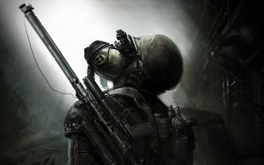 Video games post-apocalyptic futuristic weapons artwork metro last light wallpaper