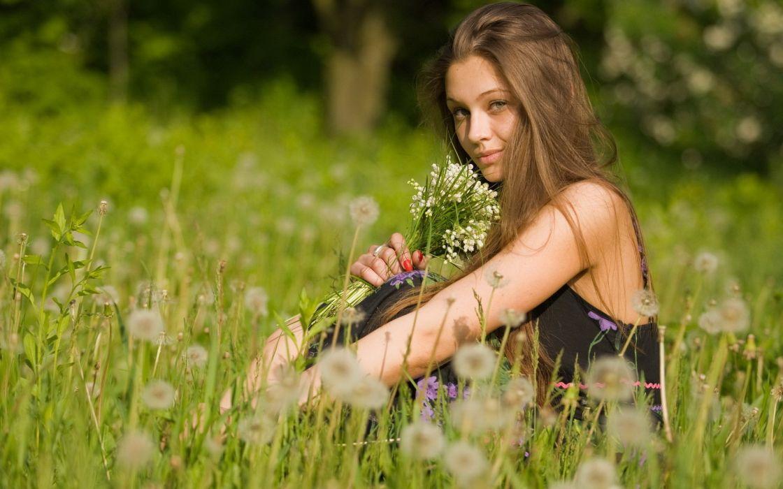 Women flowers grass wallpaper