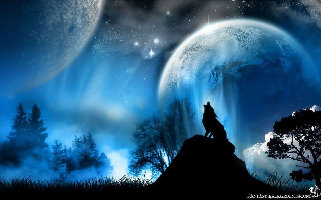 Blue stars planets moon wolves wallpaper