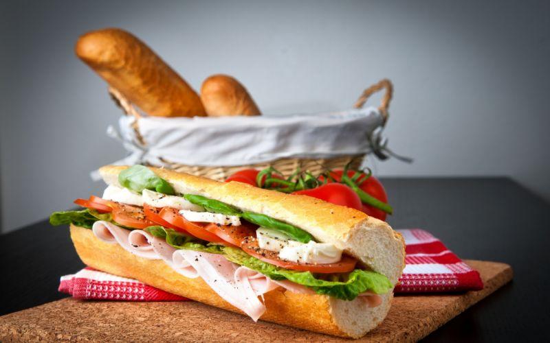Sandwiches food bread potatoes tomatoes salad salami wallpaper