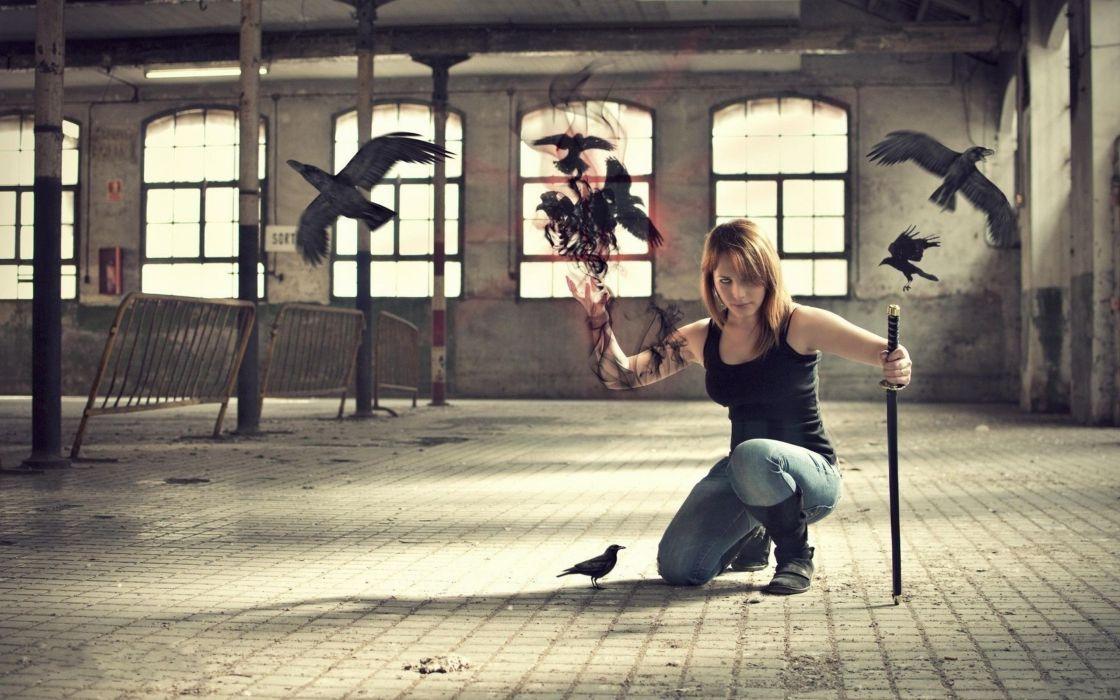 Blondes women katana magic crows photomanipulations wallpaper