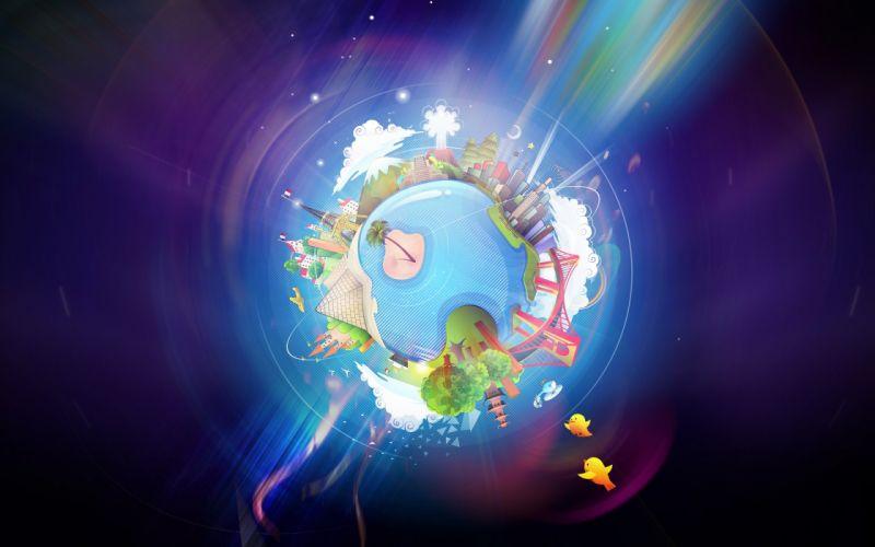 Cartoons multicolor birds planets wallpaper