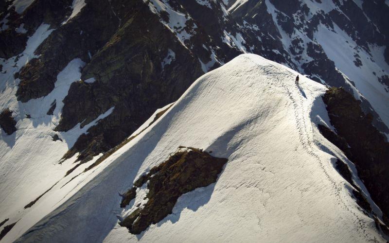 Mountains landscapes nature snow footsteps wallpaper