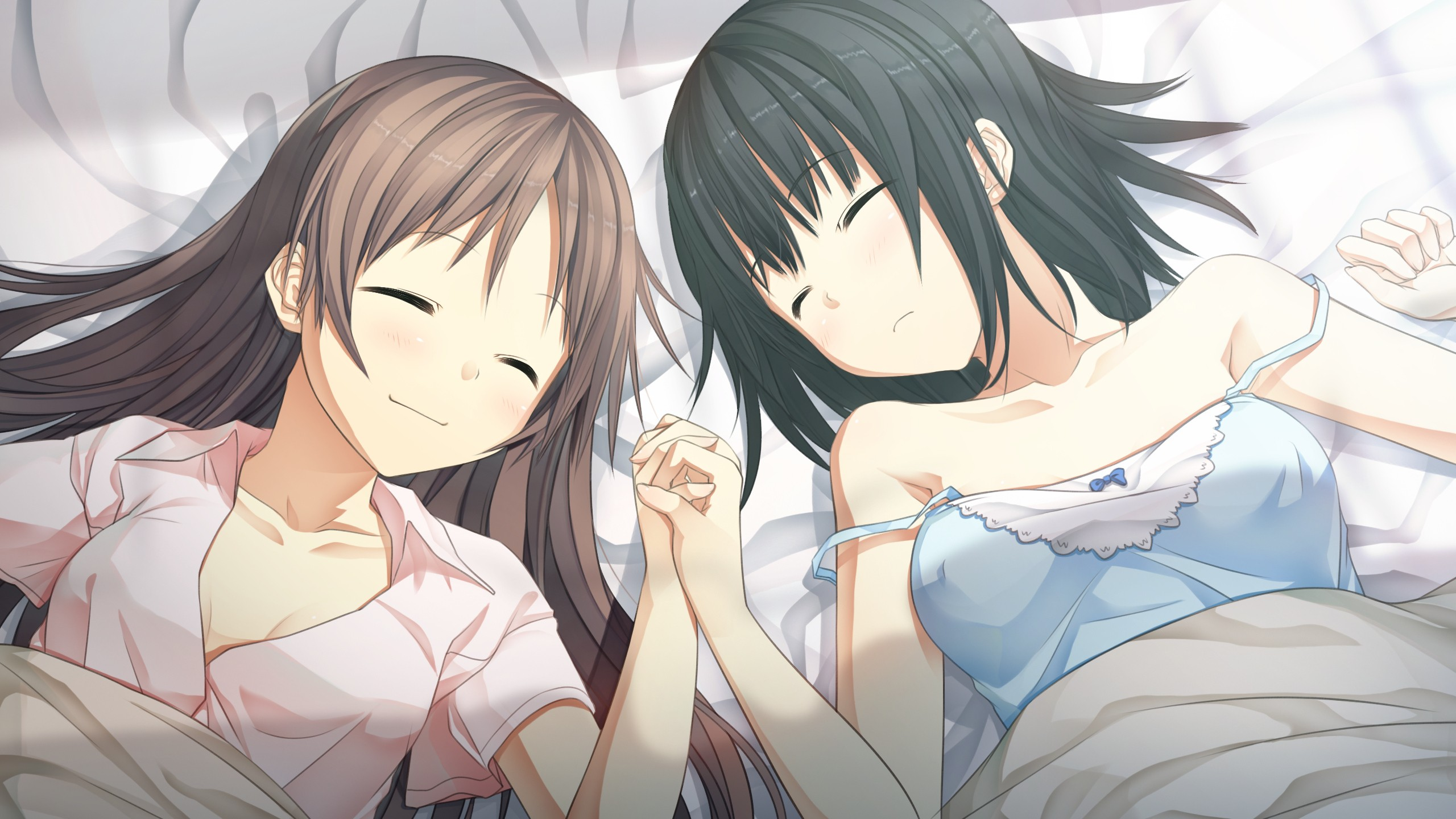 pillows game cg smiling sleeping closed eyes holding hands anime girls ... Best Friends Holding Hands Girls
