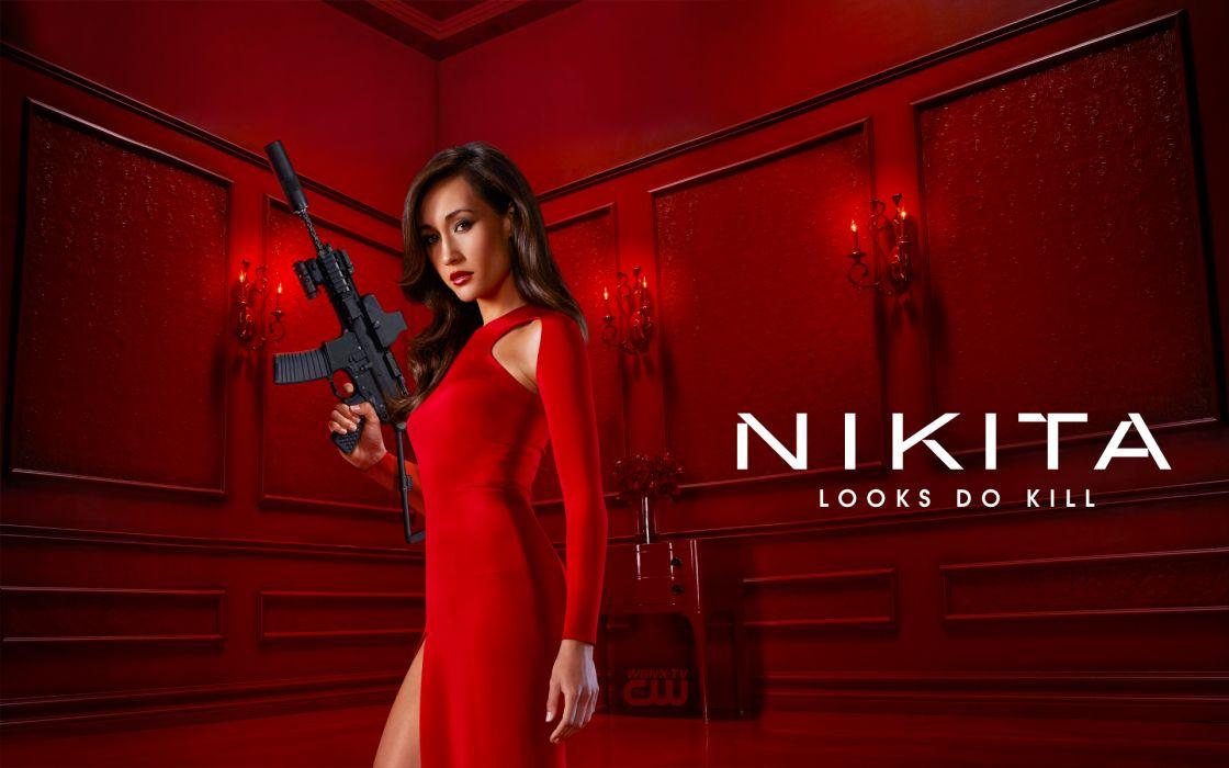 Machine gun girls with guns maggie q red dress nikita tv series wallpaper