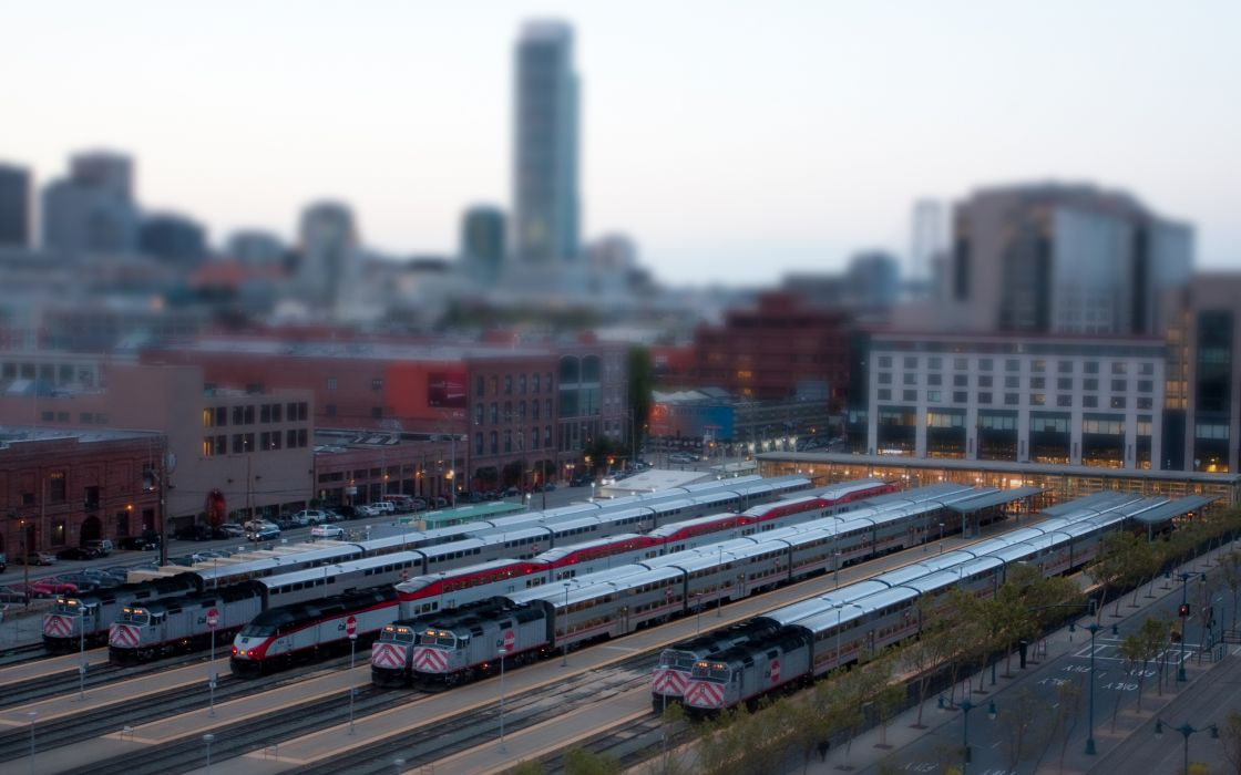 Trains train stations tilt-shift vehicles wallpaper