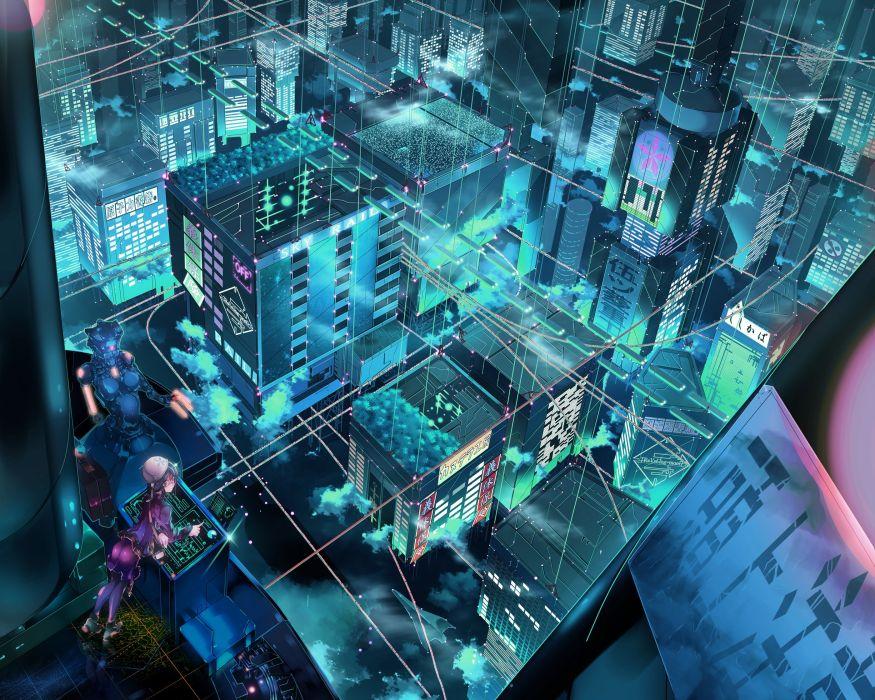 Landscapes cityscapes robots fantasy art science fiction wallpaper