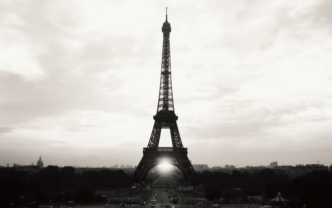 Eiffel tower paris cityscapes france black white wallpaper