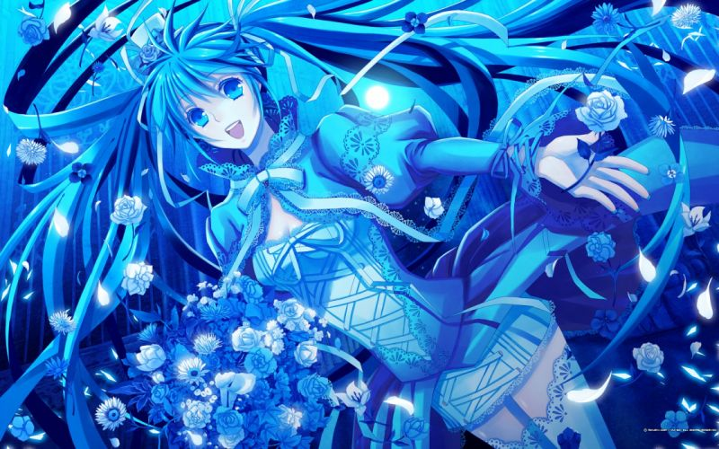 Blue vocaloid dress flowers hatsune miku blue eyes moon long hair ribbons blue hair thigh highs twintails smiling bouquet roses wallpaper
