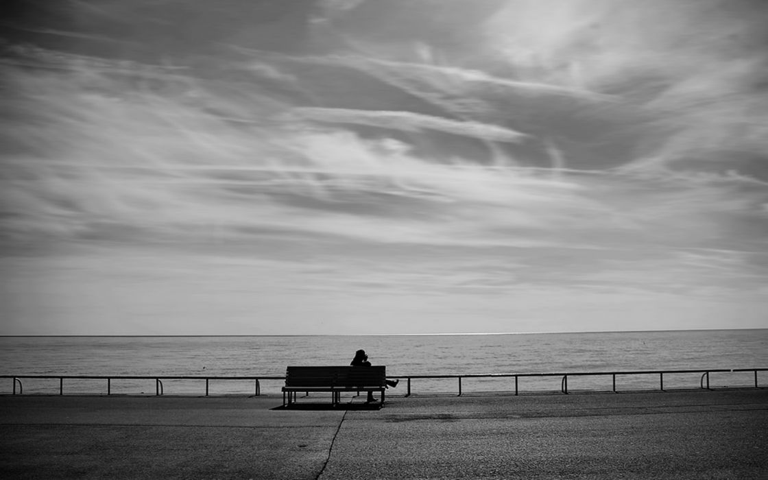 Abstract beach bench lonely grayscale sitting photos wallpaper