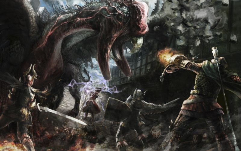 Dragons fantasy art artwork warriors medieval dragons dogma wallpaper