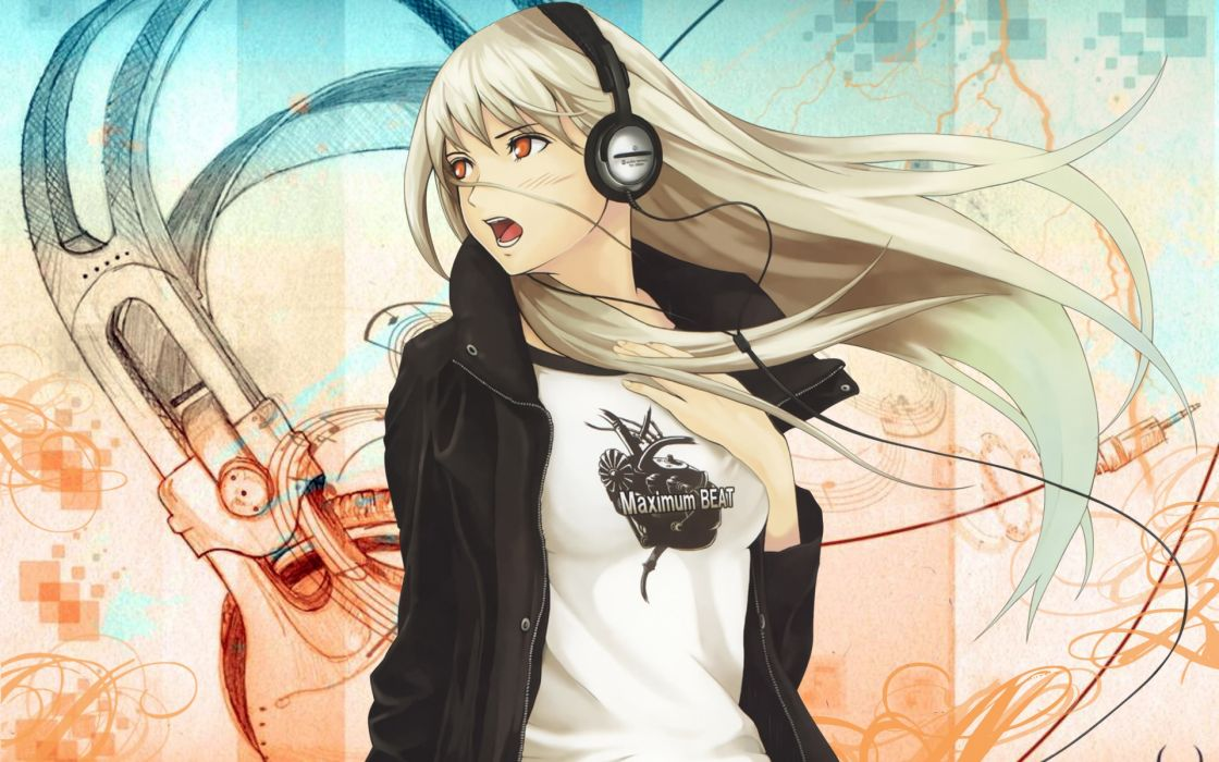 Headphones blondes women soft shading wallpaper