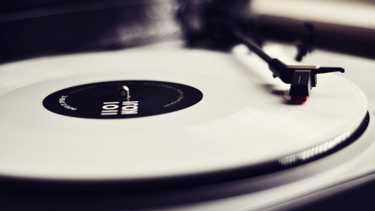 Vinyl record player monochrome wallpaper