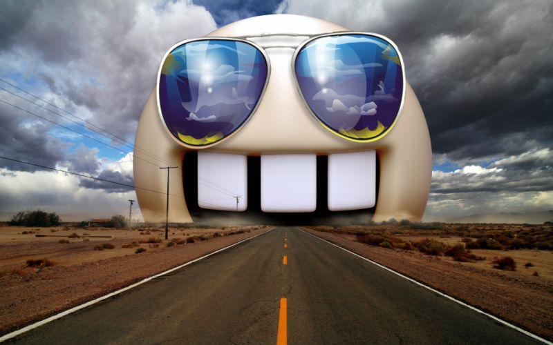 Funny highway sunglasses photomanipulations wallpaper