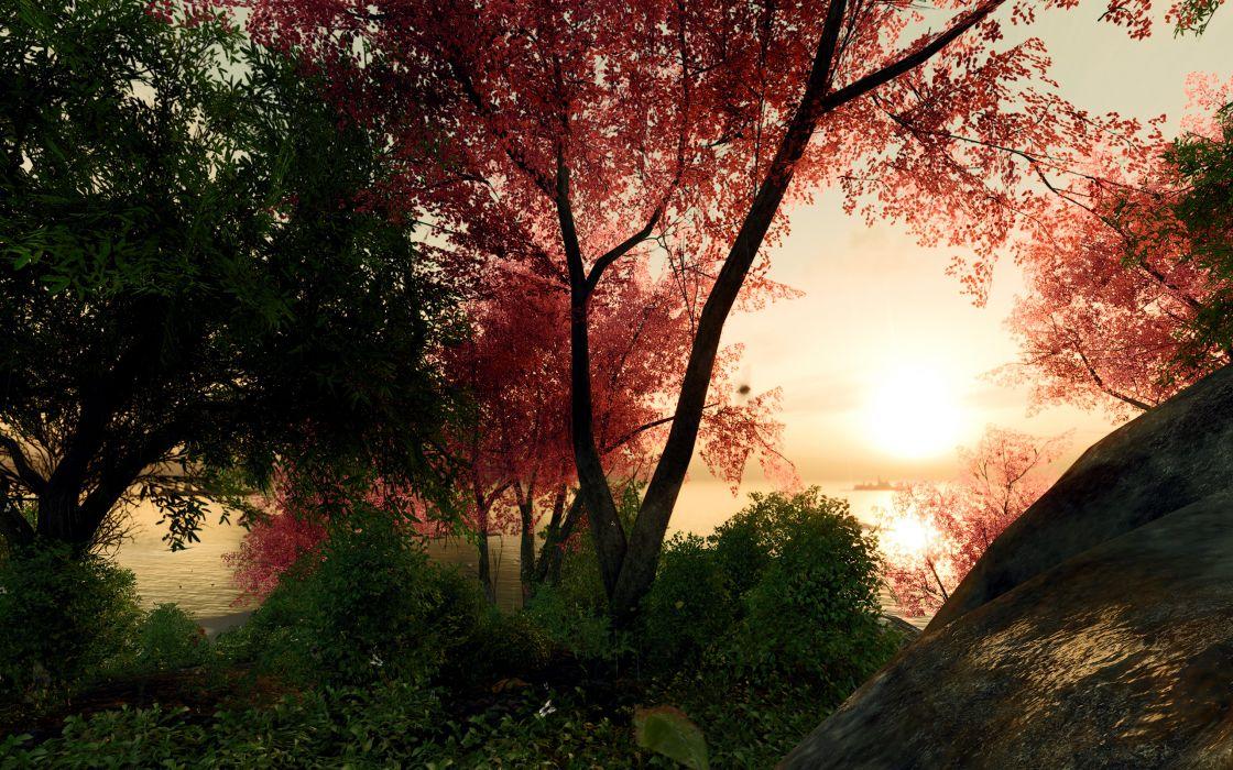 Landscapes nature trees forest digital art 3d render wallpaper