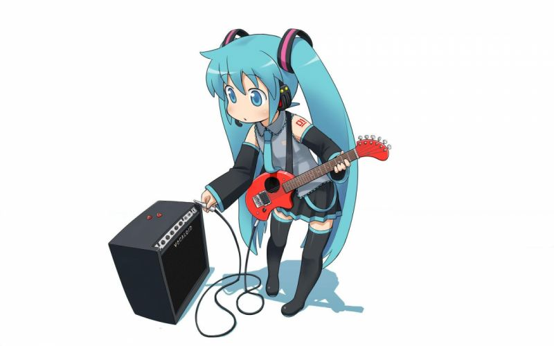 Vocaloid hatsune miku pigtails guitars twintails anime simple background anime girls detached sleeves white background wallpaper