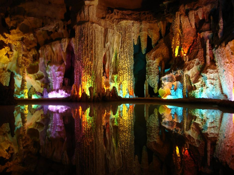 Water nature multicolor rocks reflections caves wallpaper