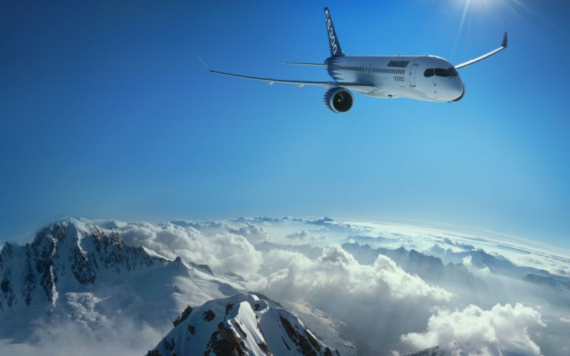 Mountains clouds landscapes airplanes wallpaper