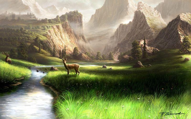 Mountains landscapes animals fields deer artwork rivers wallpaper