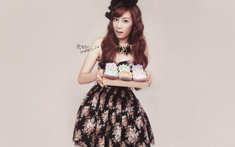 Women girls generation snsd cupcakes celebrity kim taeyeon wallpaper