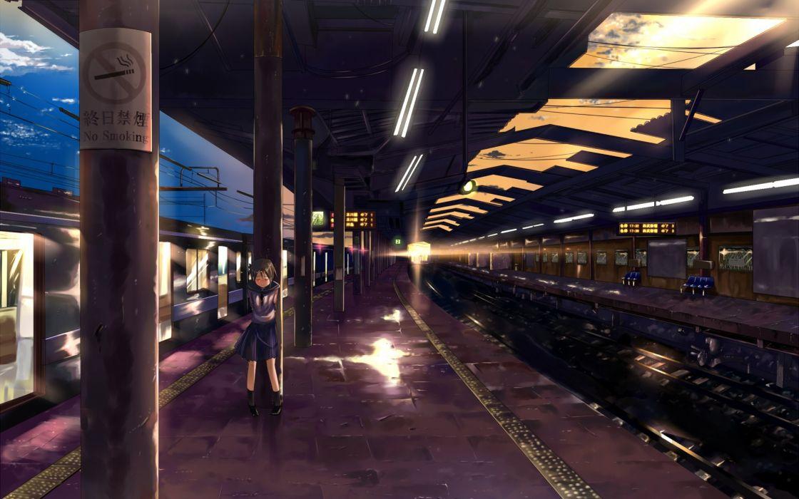School uniforms alone trains skirts train stations blush vehicles anime crying anime girls wallpaper