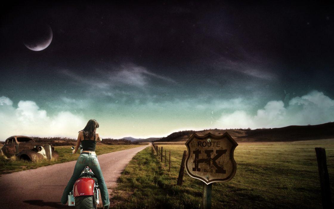 Women jeans roads motorcycles wallpaper