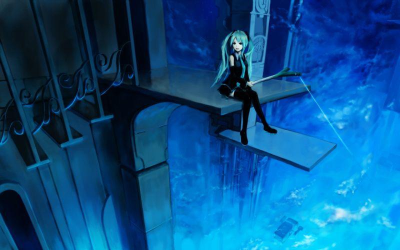 Blue vocaloid night hatsune miku skirts long hair thigh highs twintails stairs aqua eyes aqua hair detached sleeves wallpaper
